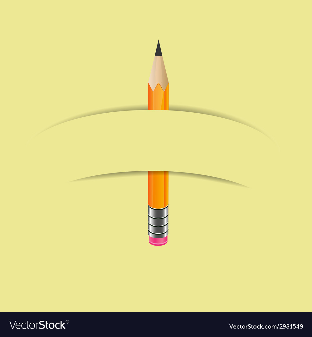 Graphite pencil with paper banner vector | Price: 1 Credit (USD $1)