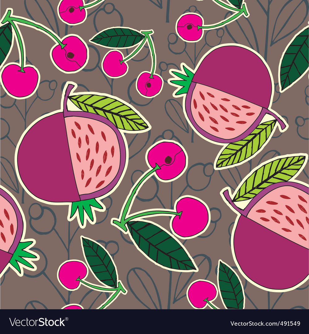 Pomegranate and cherry pattern vector