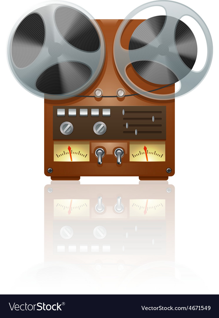 Retro tape recorder icon vector | Price: 1 Credit (USD $1)