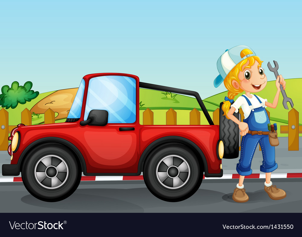A girl repairing the red jeep vector | Price: 1 Credit (USD $1)