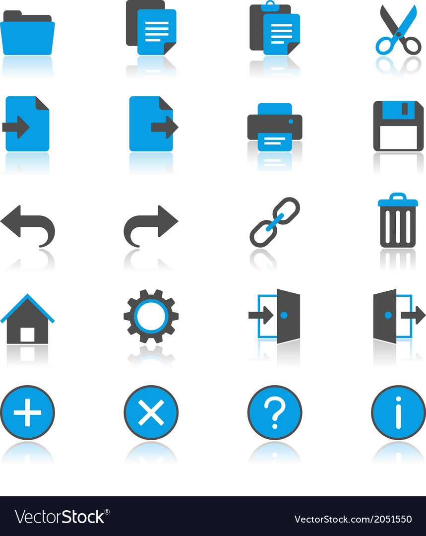 Application toolbar flat with reflection icons vector | Price: 1 Credit (USD $1)