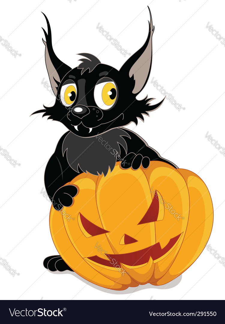 Black bat and halloween pumpkin vector | Price: 1 Credit (USD $1)