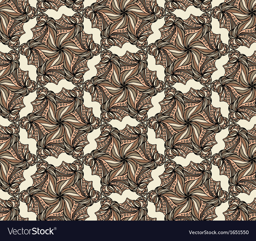 Brown seamless with hexagonal flowers vector | Price: 1 Credit (USD $1)