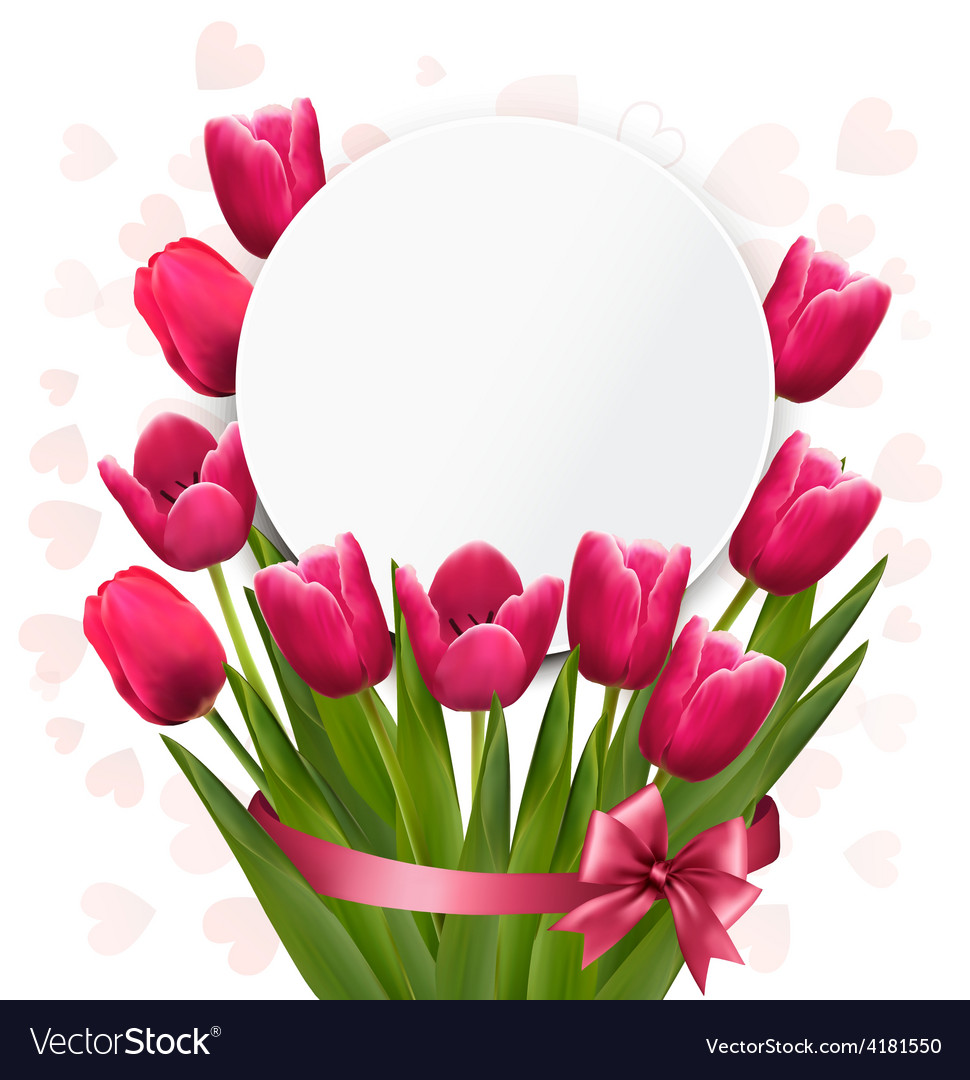 Celebration background with pink tulips vector | Price: 3 Credit (USD $3)
