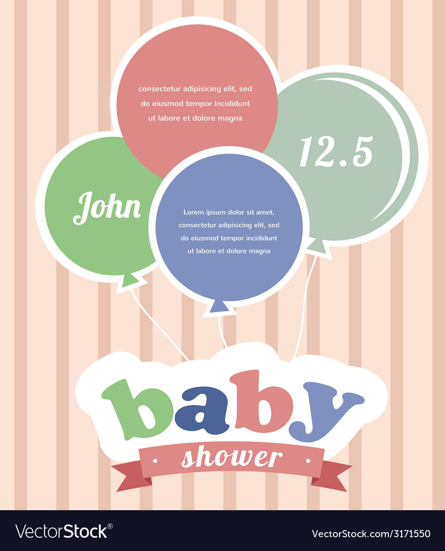 Colorful party balloons celebrating a newborn baby vector | Price: 1 Credit (USD $1)