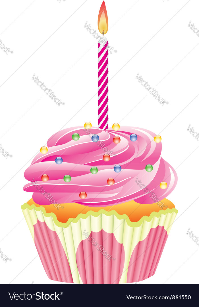 Cupcake with burning candle vector | Price: 1 Credit (USD $1)