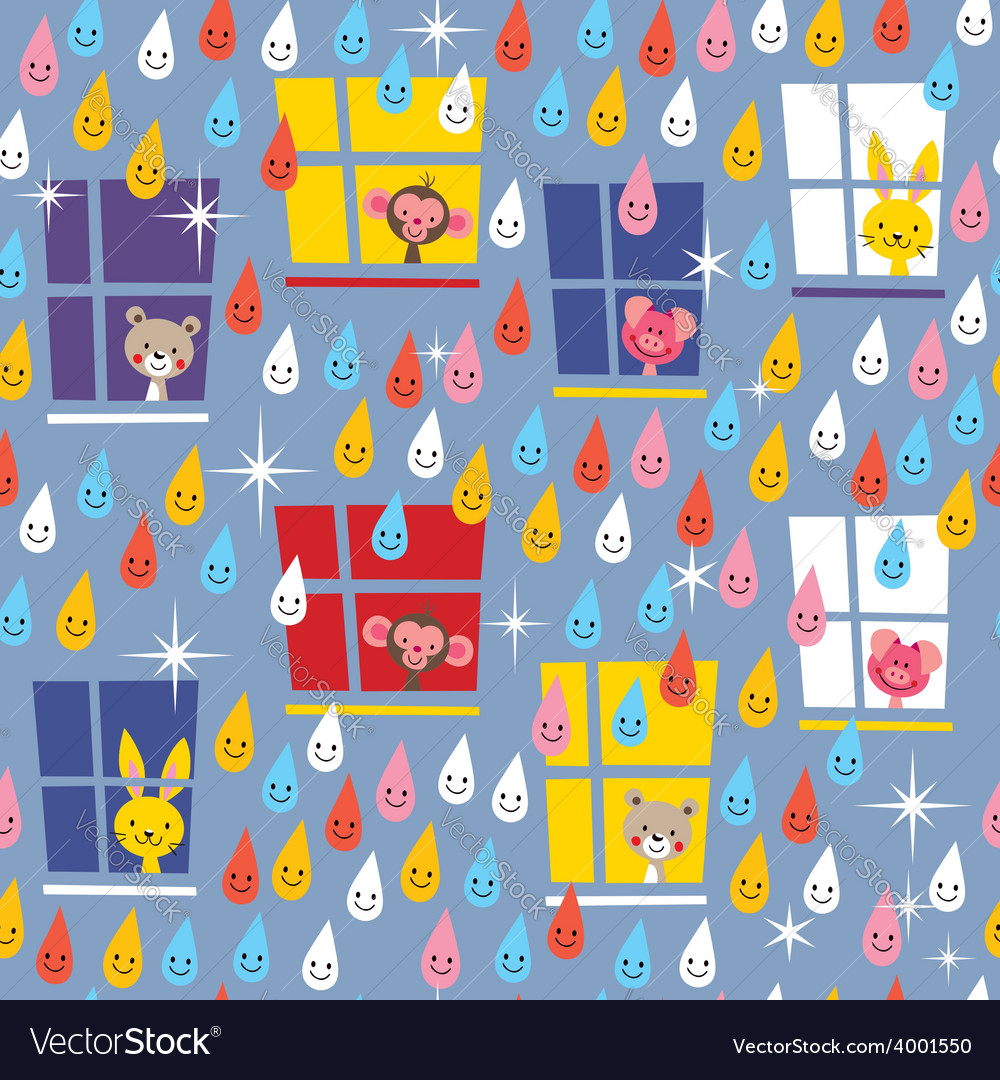 Cute animals watching rain pattern vector | Price: 1 Credit (USD $1)