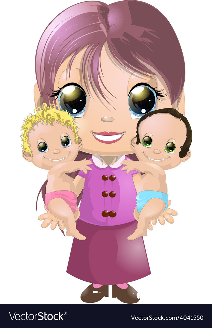 Girl and two babies vector | Price: 3 Credit (USD $3)