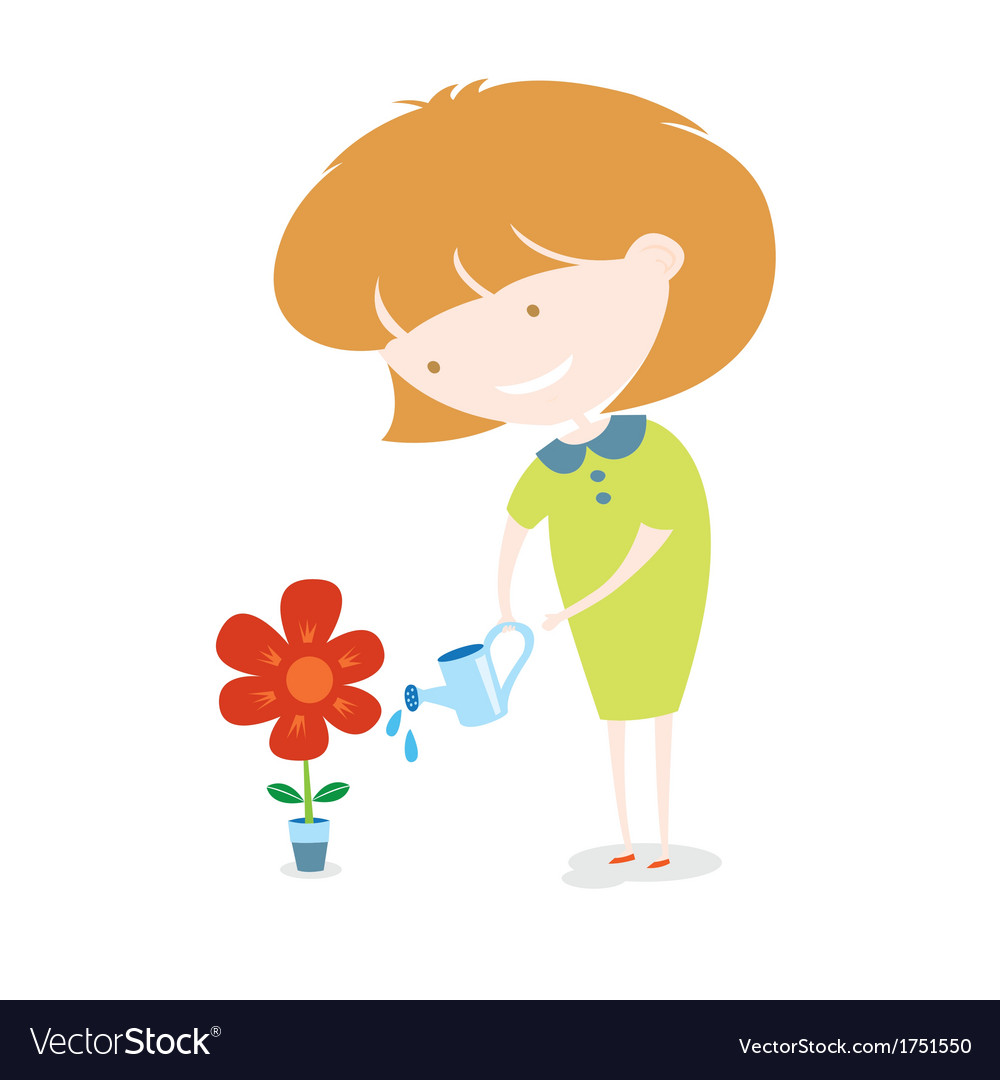 Girl watering the flower vector | Price: 1 Credit (USD $1)