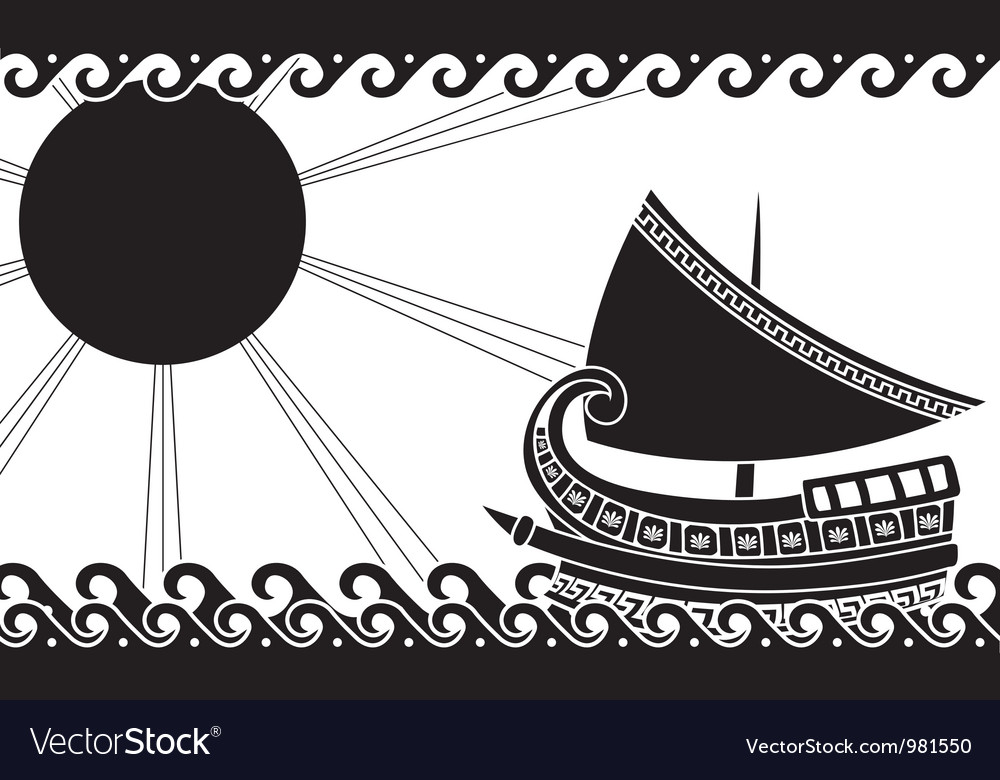 Greek ship stencil black vector | Price: 1 Credit (USD $1)