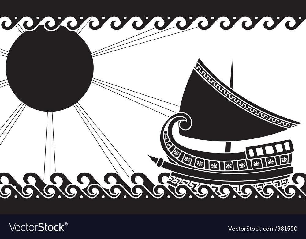 Greek ship stencil black vector | Price: 1 Credit (USD $1)