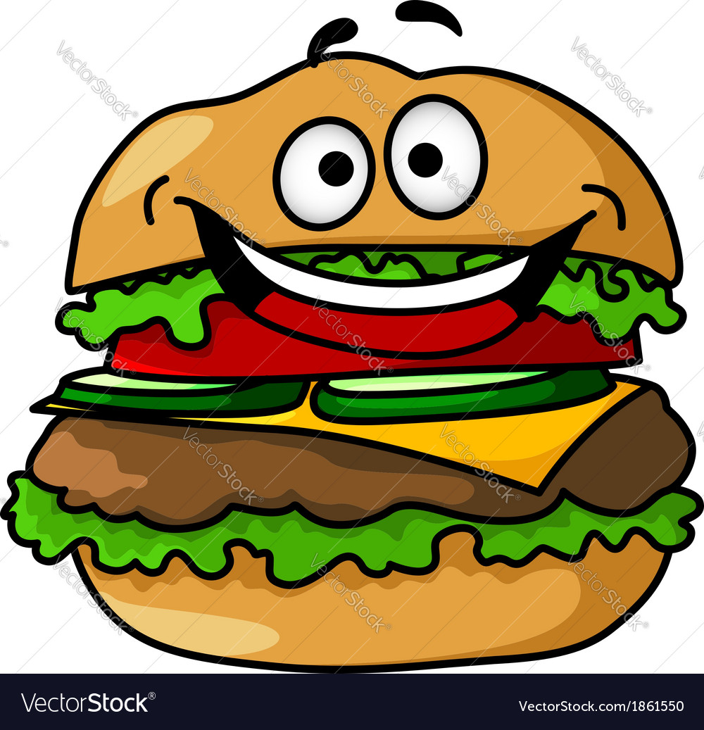 Happy cartoon hamburger with smiley face vector