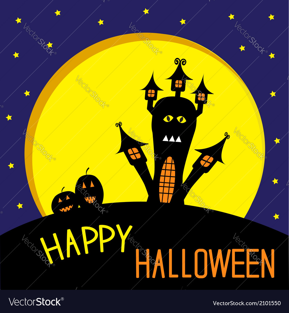 Haunted house pumpkins and big moon vector | Price: 1 Credit (USD $1)