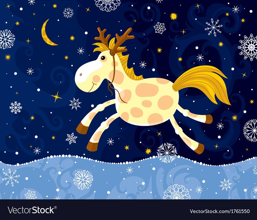 Running horse in winter vector | Price: 1 Credit (USD $1)