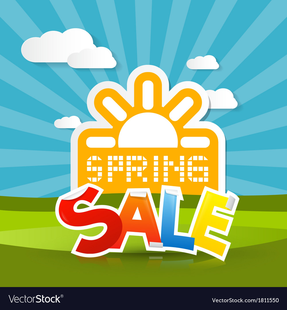 Spring sale background with sun meadow hills sky vector | Price: 1 Credit (USD $1)