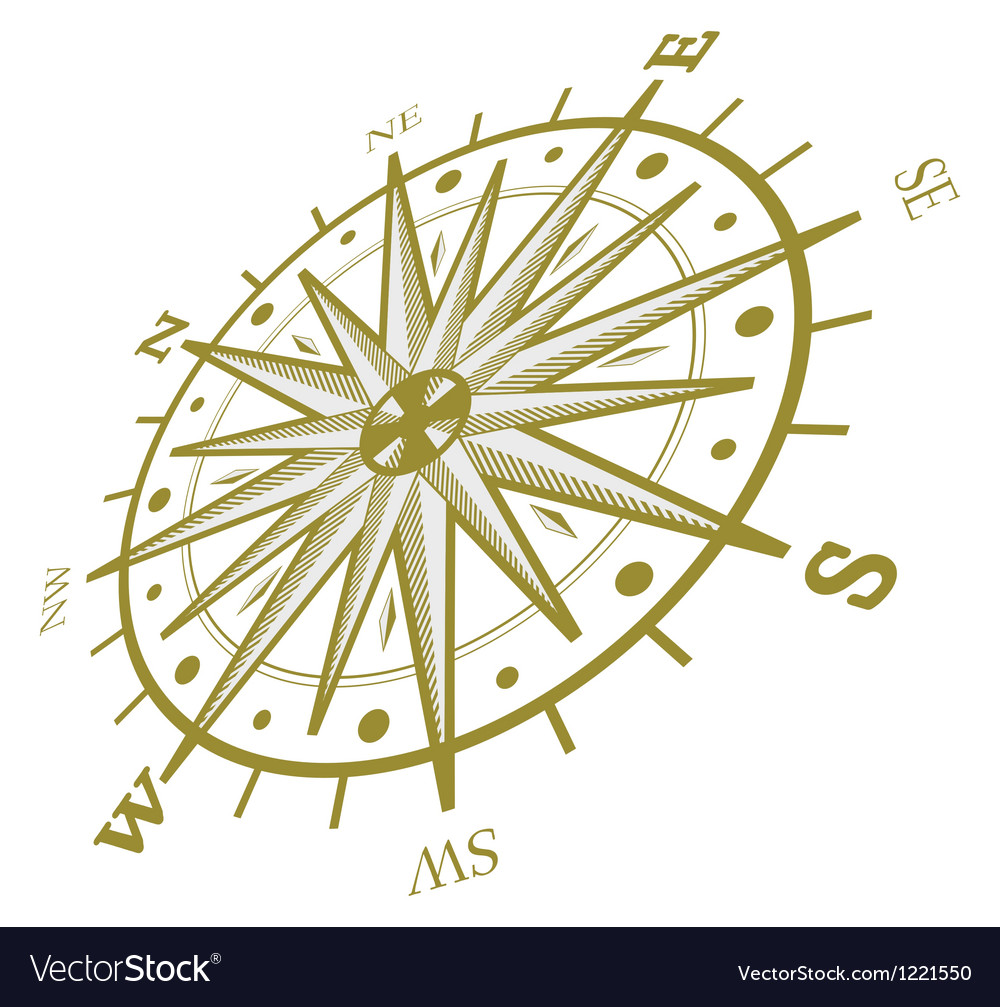 Wind rose compass isolated on white vector | Price: 1 Credit (USD $1)