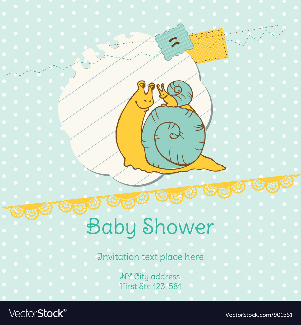 Baby shower card with snail vector | Price: 1 Credit (USD $1)