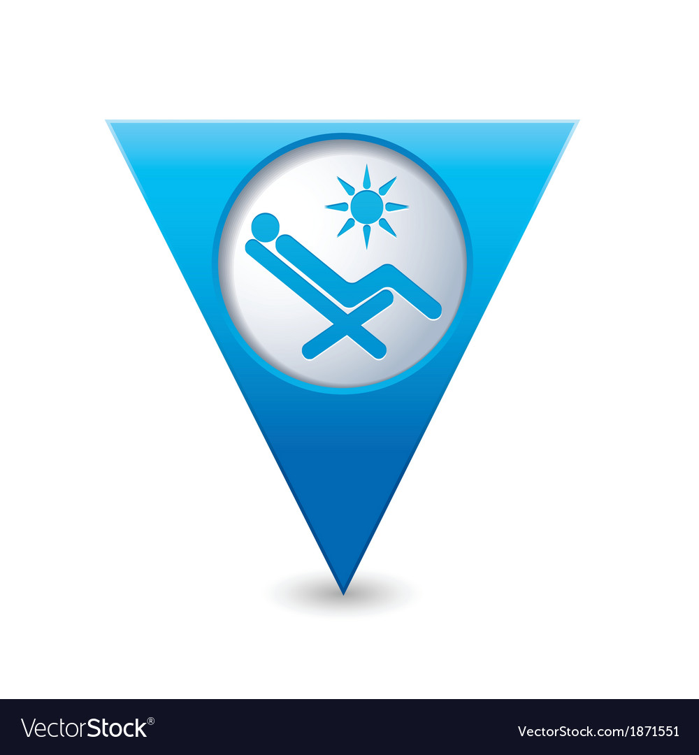 Beach chair icon map pointer blue vector | Price: 1 Credit (USD $1)