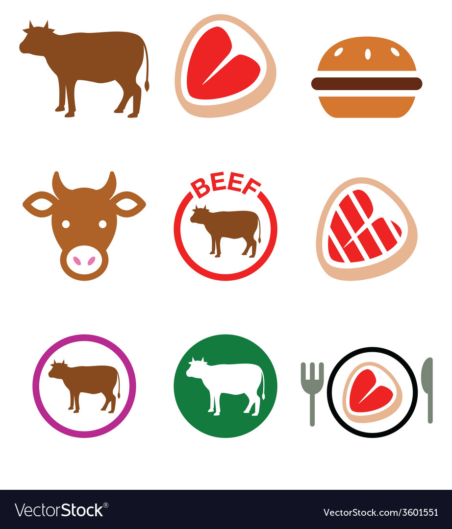 Beef meat cow icon set vector | Price: 1 Credit (USD $1)