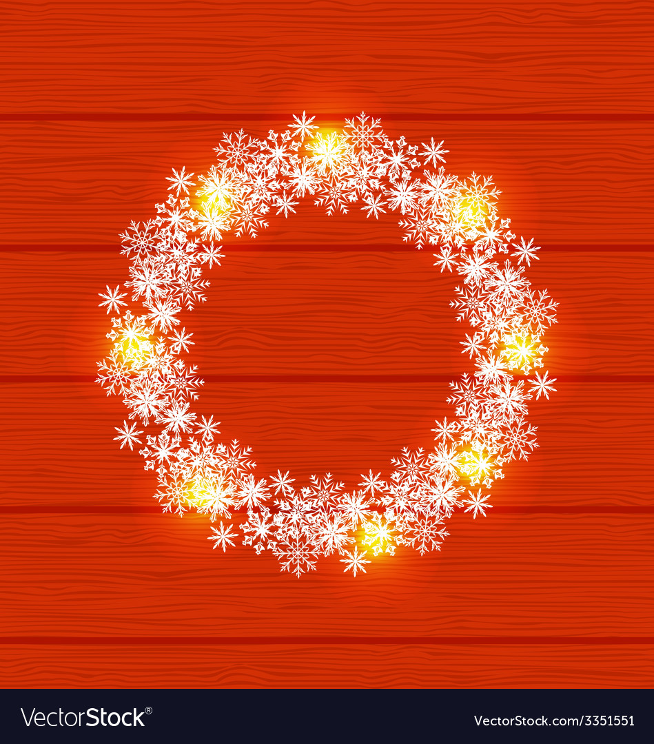 Christmas circle frame made in snowflakes on red vector | Price: 1 Credit (USD $1)