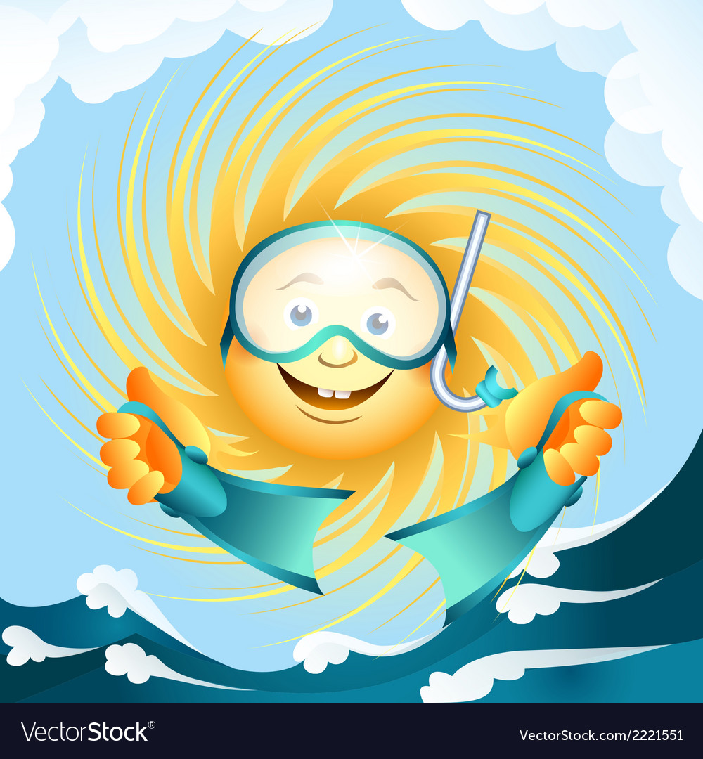 Diving sun vector | Price: 1 Credit (USD $1)