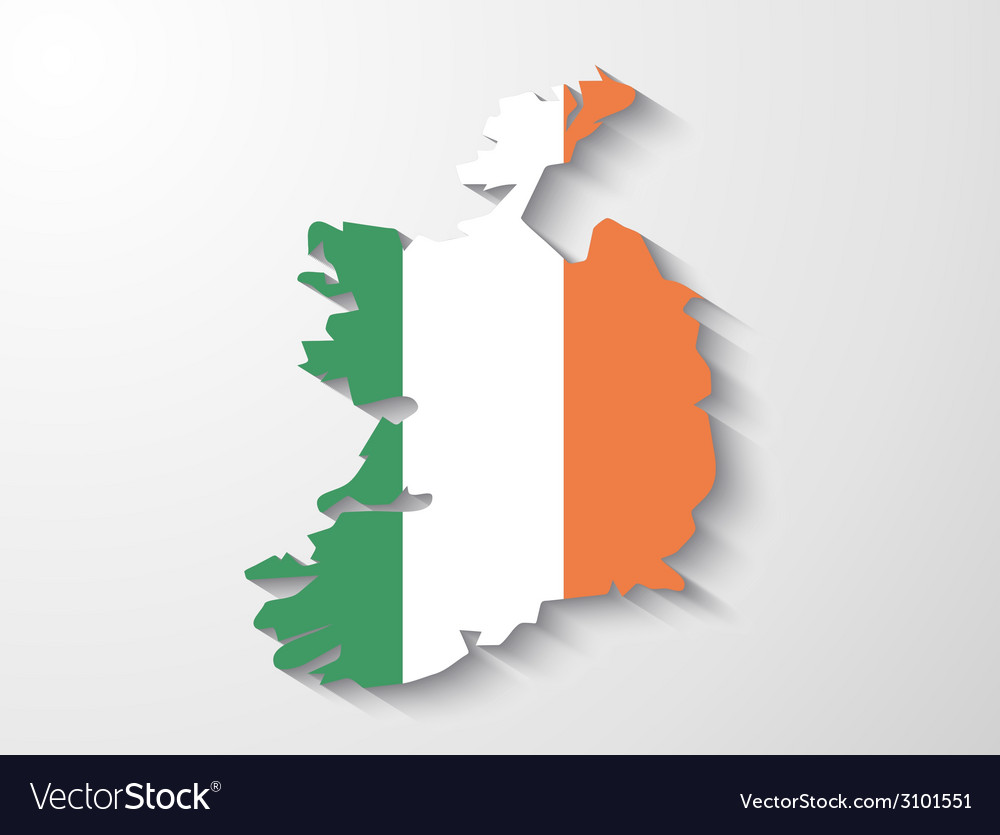 Ireland country map with shadow effect vector | Price: 1 Credit (USD $1)