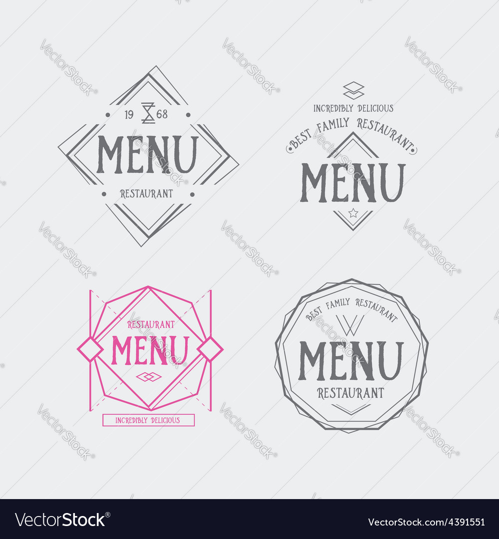 Menu logo template vintage geometric badge food vector | Price: 1 Credit (USD $1)