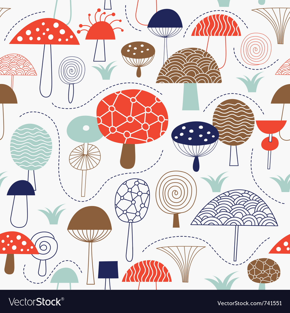 Pattern with whimsical mushrooms vector | Price: 1 Credit (USD $1)