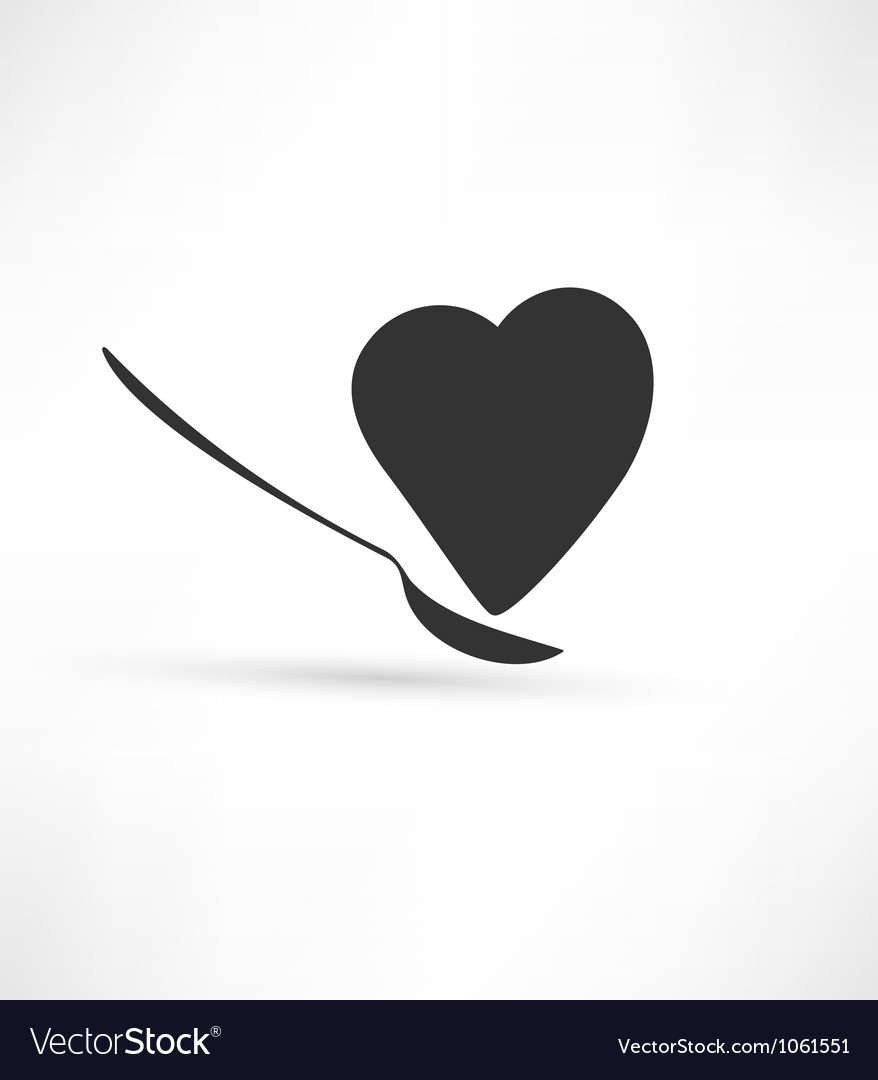Spoon and heart icon vector | Price: 1 Credit (USD $1)