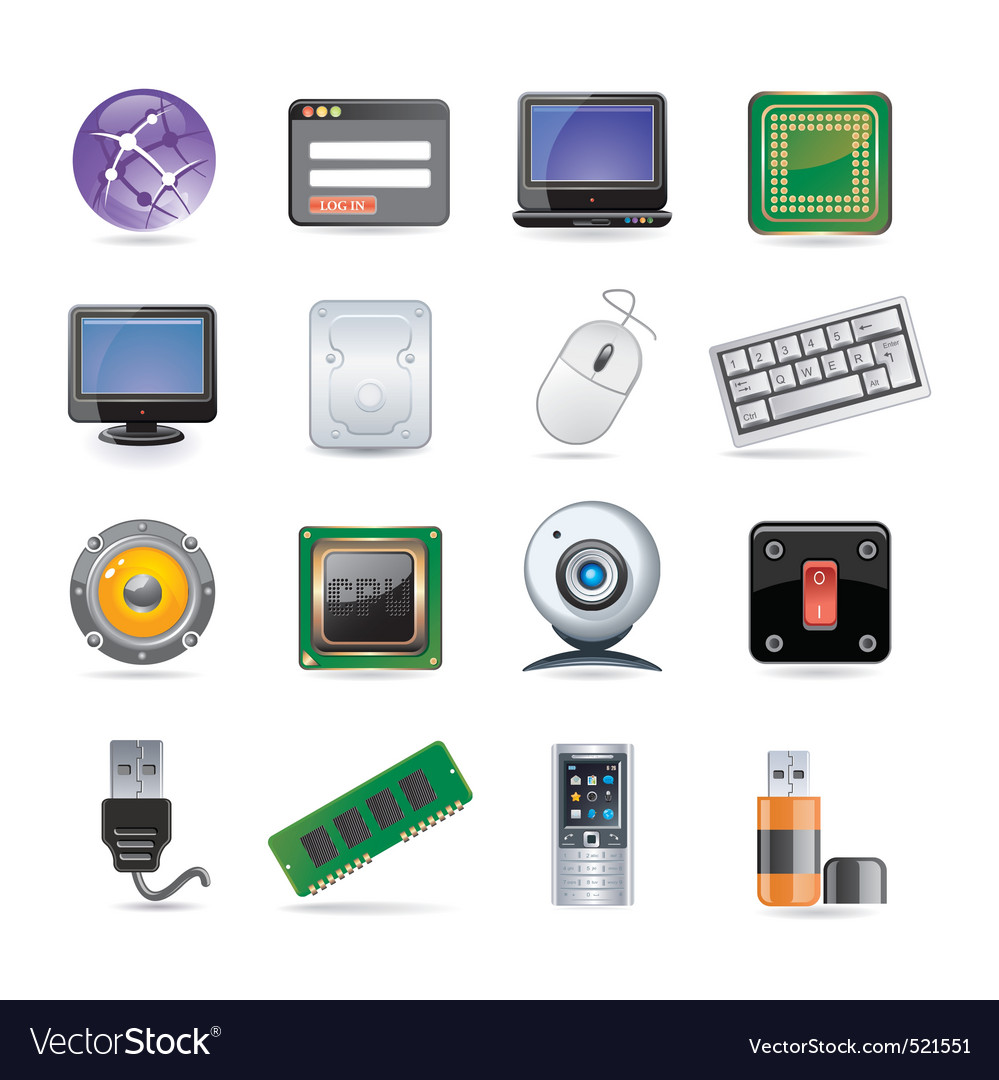 Technology icon set vector | Price: 3 Credit (USD $3)