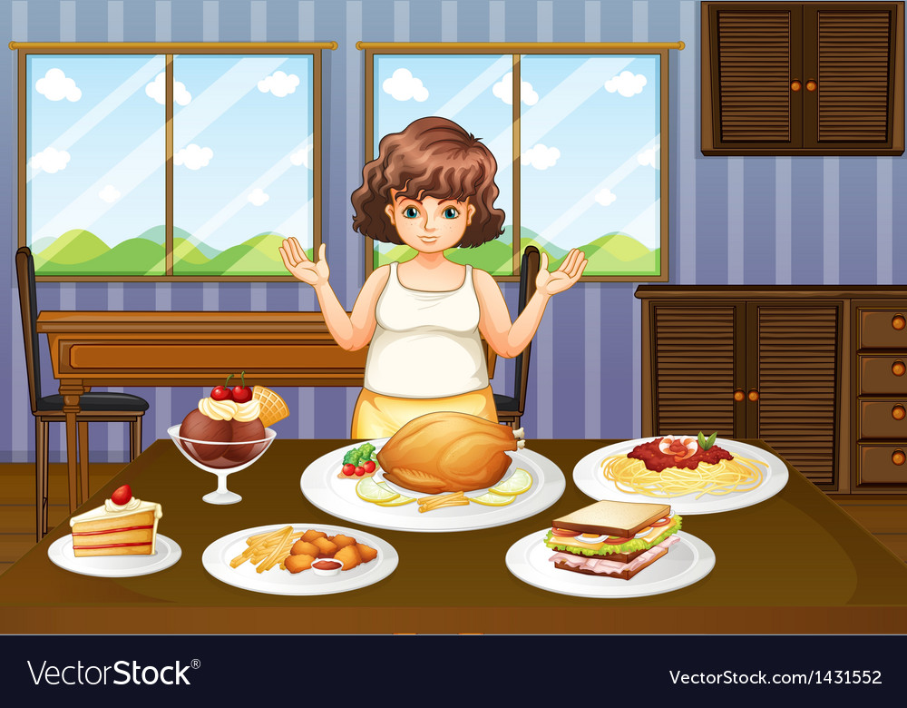 A fat lady in front of a table with many foods vector | Price: 1 Credit (USD $1)
