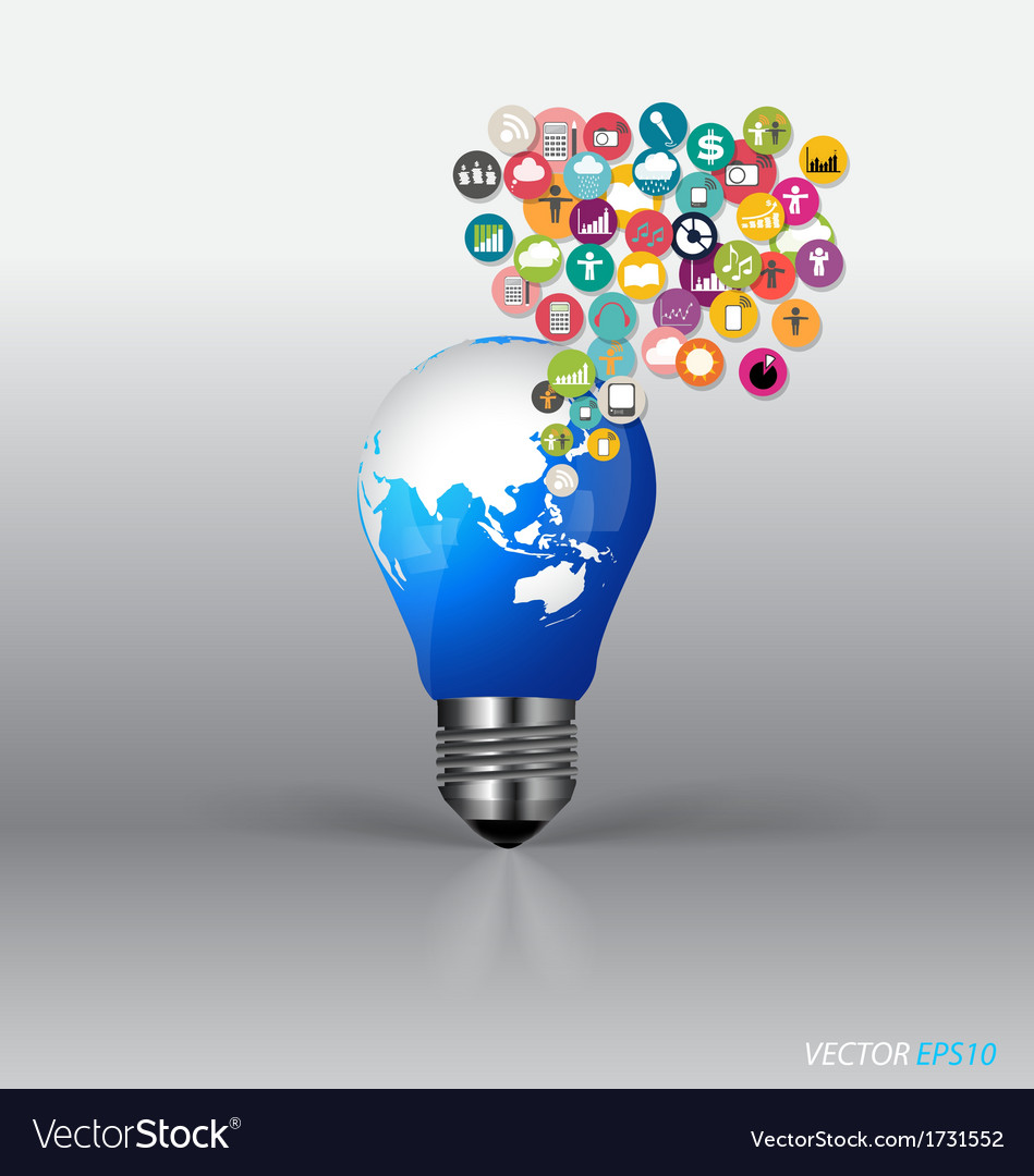 Bulb with cloud of colorful application vector | Price: 1 Credit (USD $1)