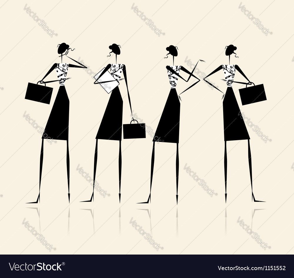 Business ladies silhouette for your design vector | Price: 1 Credit (USD $1)