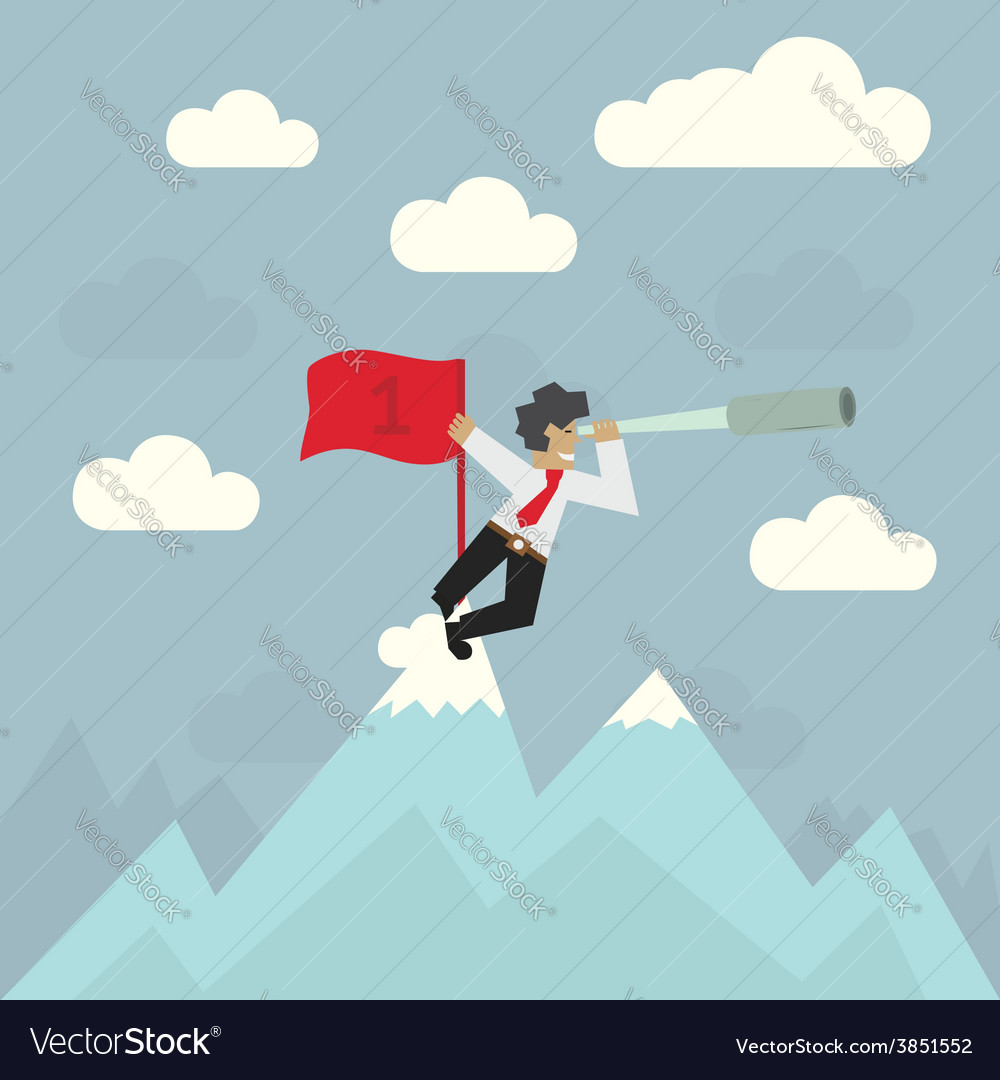 Businessman with red flag on top of the mountain vector | Price: 1 Credit (USD $1)