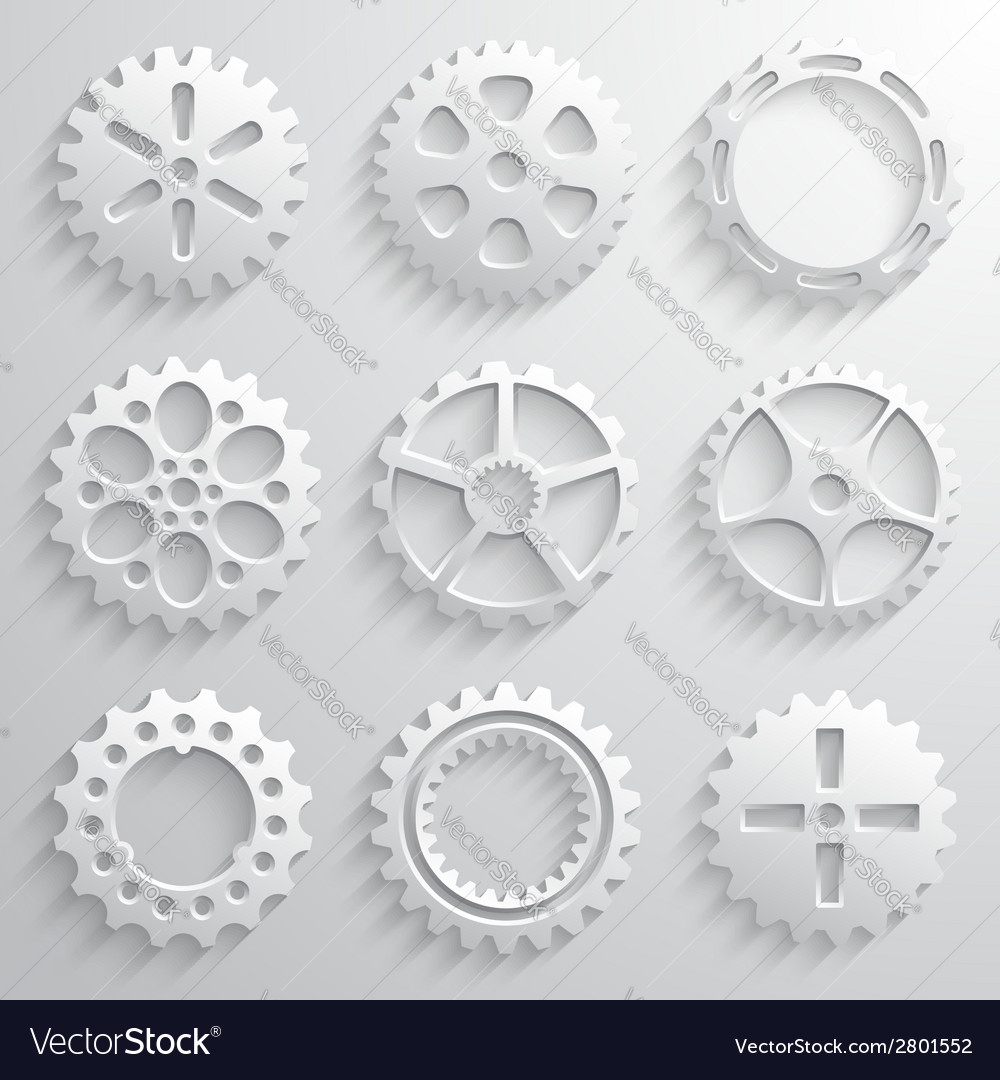 Gear wheels icon set nine 3d gears on a light gray vector | Price: 1 Credit (USD $1)