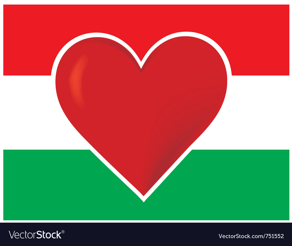 Heart hungary flag vector | Price: 1 Credit (USD $1)