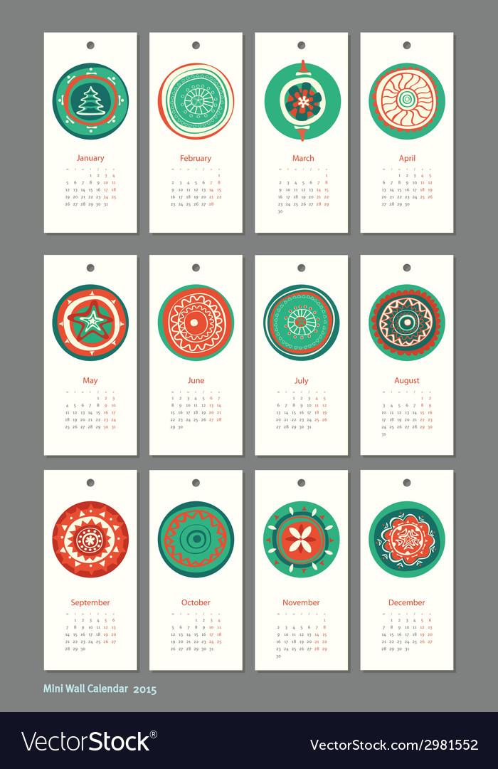 Mini cute calendar 2015 seasons vector | Price: 1 Credit (USD $1)