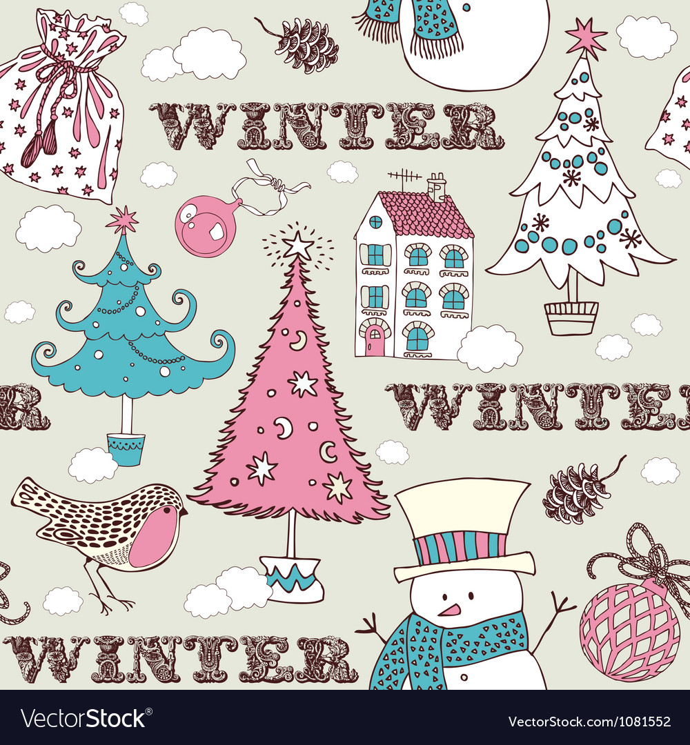 Vintage christmas winter pattern vector | Price: 1 Credit (USD $1)