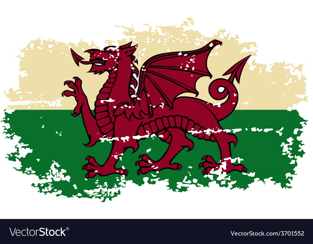 Welsh grunge flag vector | Price: 1 Credit (USD $1)
