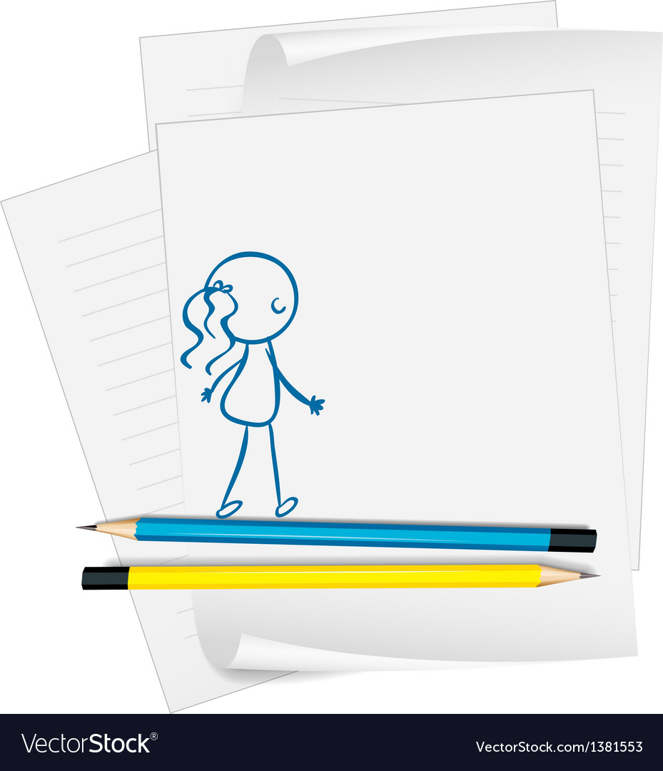 A paper with a drawing of a girl vector | Price: 1 Credit (USD $1)