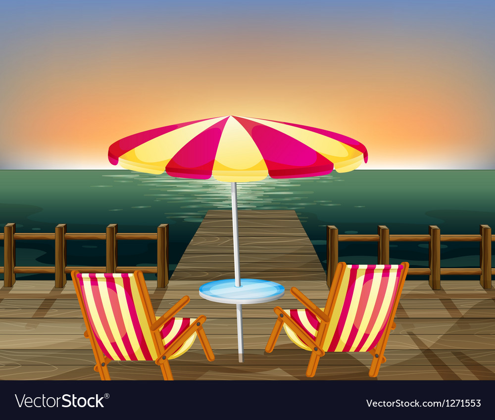 A wooden bridge with an umbrella and chairs vector | Price: 1 Credit (USD $1)