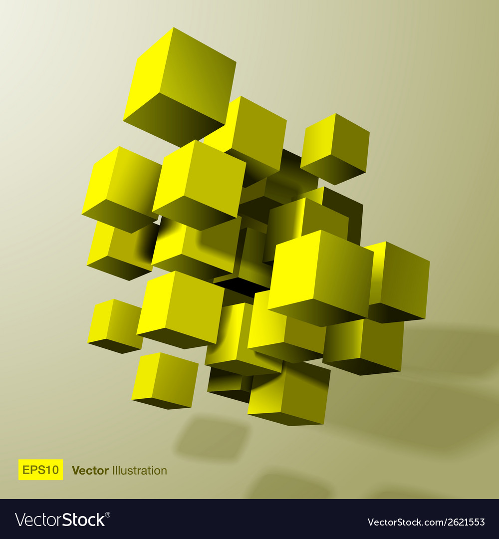 Abstract composition of yellow 3d cubes vector   Price: 1 Credit (USD $1)