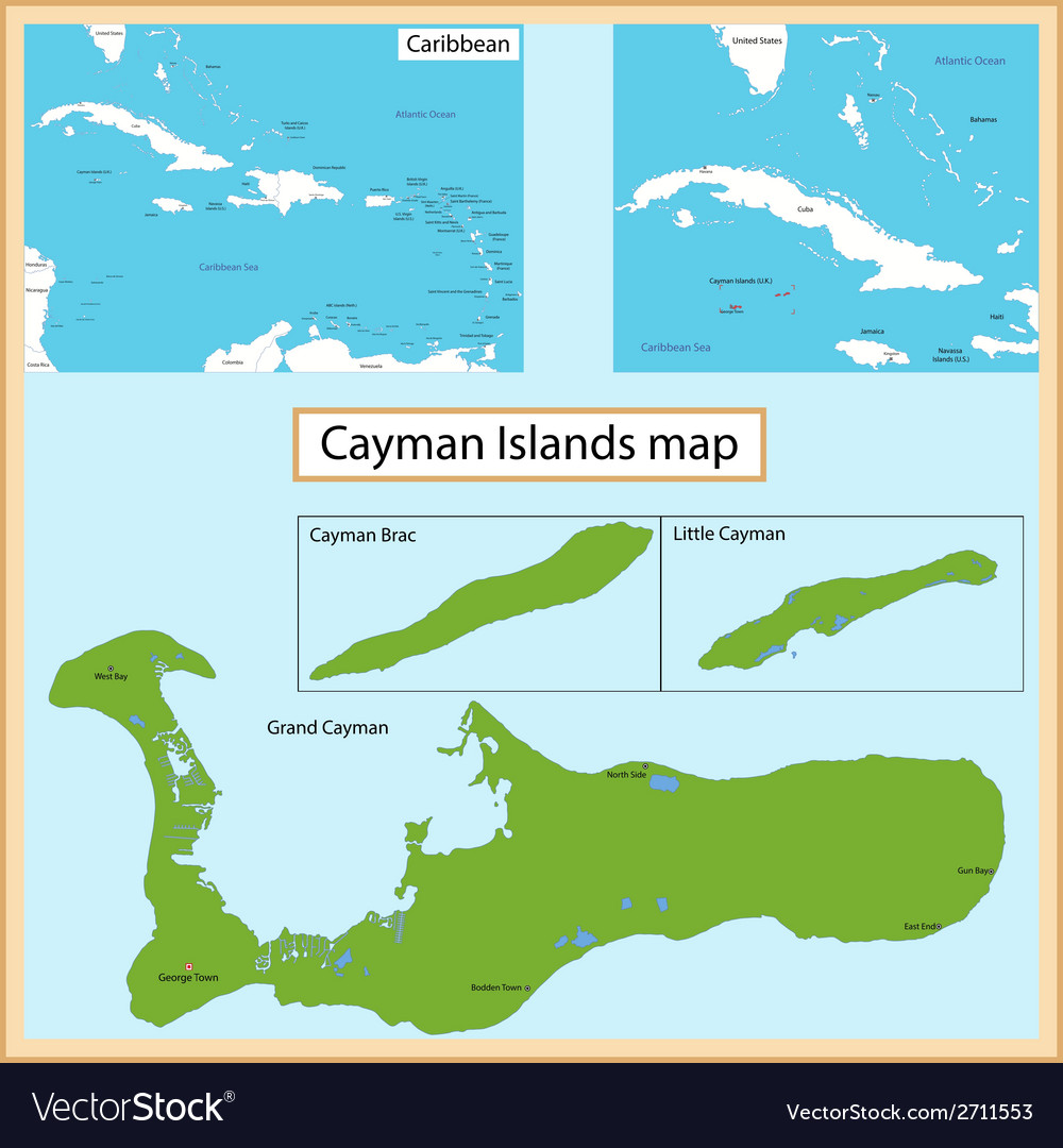 Cayman islands map vector | Price: 1 Credit (USD $1)