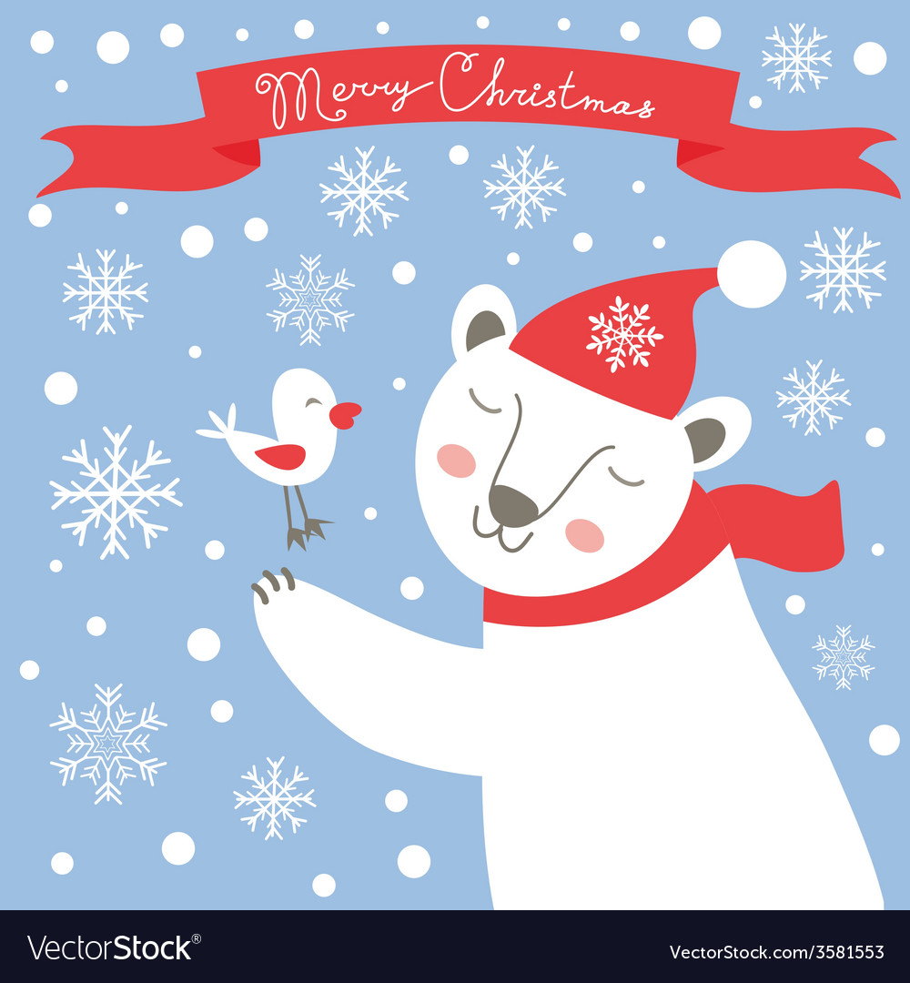 Christmas card with white bear and bird vector | Price: 1 Credit (USD $1)