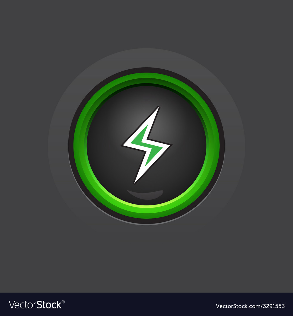 Dark glossy circle lightning button vector | Price: 1 Credit (USD $1)