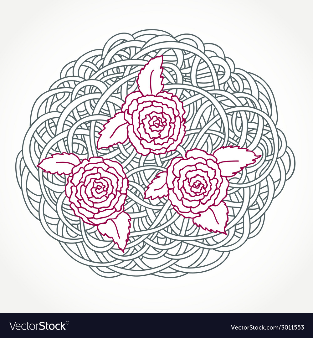 Floral rose round composition vector | Price: 1 Credit (USD $1)