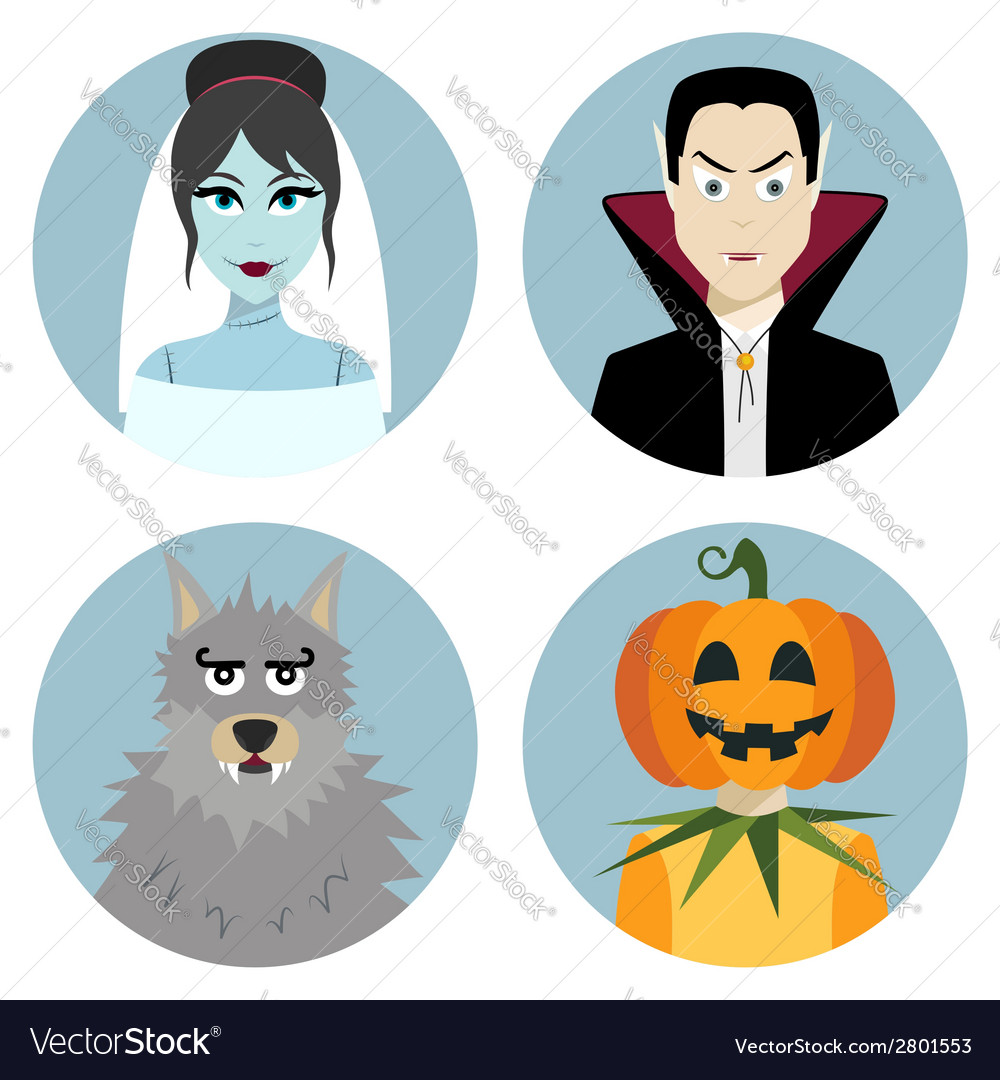 Halloween character set vampire werewolf dead vector | Price: 1 Credit (USD $1)