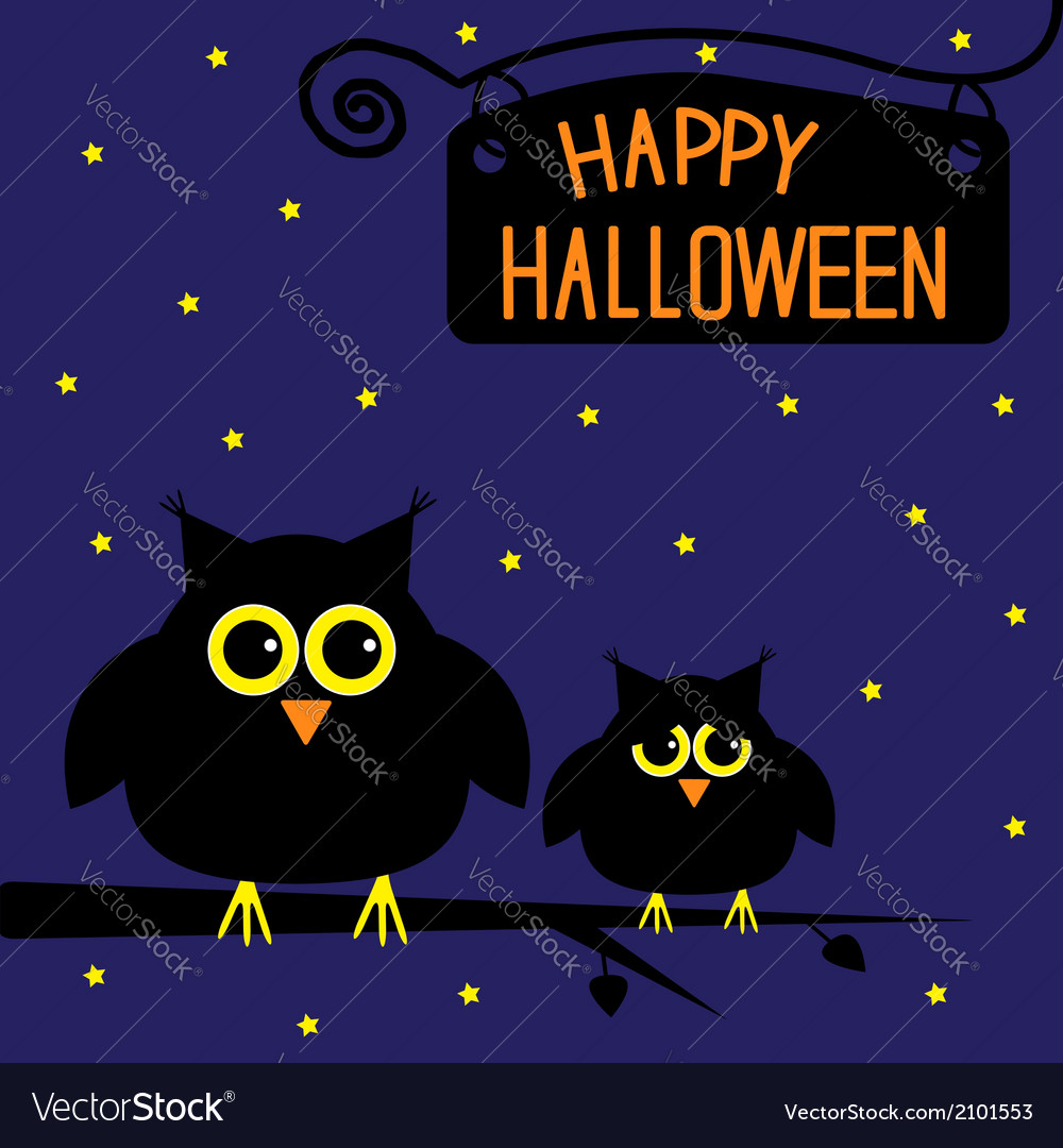 Happy halloween cute owls card starry night vector | Price: 1 Credit (USD $1)