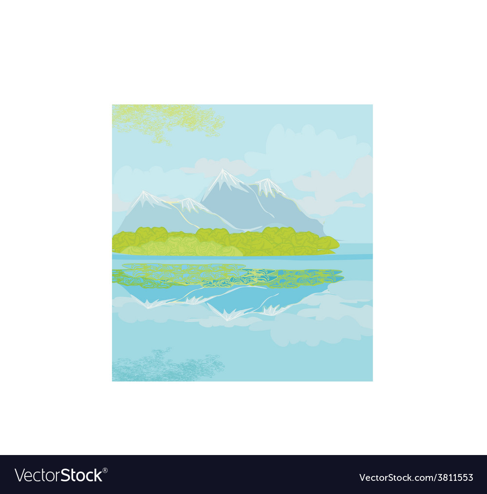 Landscape with mountains vector | Price: 1 Credit (USD $1)