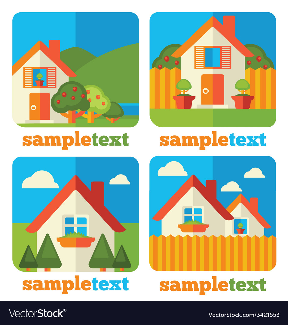 Little homes icons vector | Price: 1 Credit (USD $1)